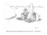 """""""Those idiots, they're burning their own arrows! Oh — oh, God no."""" - New Yorker Cartoon Premium Giclee Print by Zachary Kanin"""