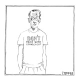 A man's t-shirt reads 'Don't Mess with Connecticut,' but he's battered and… - New Yorker Cartoon Premium Giclee Print by Matthew Diffee