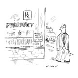 Man walking past pharmacy with sign reading 'Happy Hour 5-7 p.m.' - New Yorker Cartoon Premium Giclee Print by David Sipress