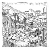 An Italia Tours tour bus drives through a city of ruins made of pasta. - New Yorker Cartoon Premium Giclee Print by John O'brien
