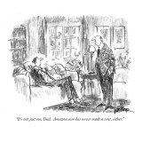 """It's not just me, Dad.  Amazon.com has never made a cent, either."" - New Yorker Cartoon Premium Giclee Print by Robert Weber"