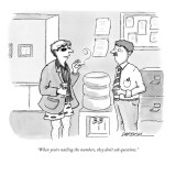 """When you're nailing the numbers, they don't ask questions."" - New Yorker Cartoon Premium Giclee Print by C. Covert Darbyshire"