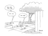 Dog and cat walking together. Dog thinks to himself, 'Dog . . . God. God .… - New Yorker Cartoon Premium Giclee Print by Jack Ziegler