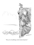 """""""Sorry, sir, we're filming a truck commercial up here."""" - New Yorker Cartoon Premium Giclee Print by Nick Downes"""