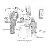 &quot;Is the homework fresh?&quot; - New Yorker Cartoon Premium Giclee Print by Danny Shanahan