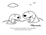 """It's just a theory, but perhaps it's their opposable thumbs that makes th…"" - New Yorker Cartoon Premium Giclee Print by Charles Barsotti"