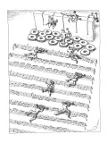 Men in tuxedos crawl under barbed wire arranged like a musical score. - New Yorker Cartoon Premium Giclee Print by John O'brien