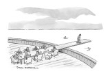 A businessman walks to the end of the meeting table which is a plank into … - New Yorker Cartoon Premium Giclee Print by Paul Karasik