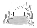 Rabbit at a meeting showing a chart with a bouncing line. - New Yorker Cartoon Premium Giclee Print by Mike Twohy