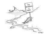 "Evolving fish carrying sign that reads ""The beginning is near."" - New Yorker Cartoon Premium Giclee Print by Robert Leighton"