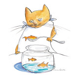 A cat spoons a goldfish out of a goldfish bowl. - New Yorker Cartoon Premium Giclee Print by Michael Crawford
