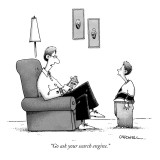 """Go ask your search engine."" - New Yorker Cartoon Premium Giclee Print by John Caldwell"