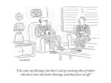 """I do count my blessings, but then I end up counting those of others who h…"" - New Yorker Cartoon Premium Giclee Print by Robert Mankoff"