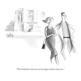 """Their bookshelves look more convincingly read from than ours."" - New Yorker Cartoon Premium Giclee Print by Julia Suits"