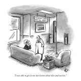 """I was able to get in one last lecture about diet and exercise."" - New Yorker Cartoon Premium Giclee Print by Frank Cotham"