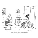 """Who's going to finish your sentences?"" - New Yorker Cartoon Premium Giclee Print by David Sipress"
