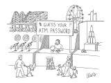 """Guess your ATM Password"" booth at carnival. - New Yorker Cartoon Premium Giclee Print by Eric Lewis"