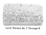 """Love Potions No. 1 Thru 8"". Eight empty margarita glasses. - New Yorker Cartoon Premium Giclee Print by Kim Warp"
