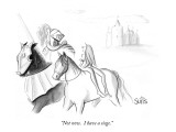 """Not now.  I have a siege."" - New Yorker Cartoon Premium Giclee Print by Julia Suits"
