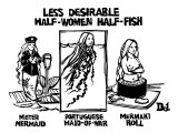 Meterm Mermaid, Portuguese Maid-O-War, and Mermaki Roll. - New Yorker Cartoon Premium Giclee Print by Drew Dernavich