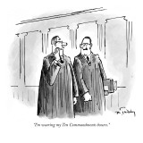 """I'm wearing my Ten Commandments boxers."" - New Yorker Cartoon Premium Giclee Print by Mike Twohy"