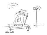 Pilgrim on treadmill. - New Yorker Cartoon Premium Giclee Print by Charles Barsotti