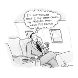 """A businessman on a plane thinks """"it's not enough that I fly first class...…"""" - New Yorker Cartoon Premium Giclee Print by Leo Cullum"""