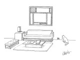 A cat stares at a square mouse hole in a room made entirely of square furn… - New Yorker Cartoon Premium Giclee Print by Eric Lewis