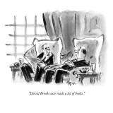 """David Brooks sure reads a lot of books."" - New Yorker Cartoon Premium Giclee Print by Lee Lorenz"