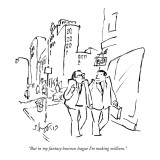 """But in my fantasy business league I'm making millions."" - New Yorker Cartoon Premium Giclee Print by Sidney Harris"