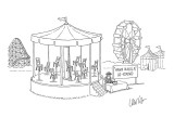Ride at amusement park-- merry-go-round with chairs instead of horses and … - New Yorker Cartoon Premium Giclee Print by Eric Lewis