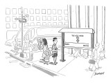 """Tourist on the street looking at a sign that has a point saying """"you are h… - New Yorker Cartoon Premium Giclee Print by John Donohue"""