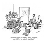 """So, would anyone in the group care to respond to what Clifford has just s…"" - New Yorker Cartoon Premium Giclee Print by Tom Cheney"