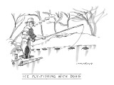 """Ice Fly-Fishing with Doug"" - New Yorker Cartoon Premium Giclee Print by Michael Crawford"