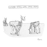 "Title ""Where Steel Wool comes from"". Robot sheep. - New Yorker Cartoon Premium Giclee Print by Zachary Kanin"