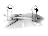 A sign of a deer crossing is running away from a sign of a hunter shooting… - New Yorker Cartoon Premium Giclee Print by Julia Suits