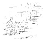 Student with cup in hand, sitting on a milk crate next to sign that reads,… - New Yorker Cartoon Premium Giclee Print by Barbara Smaller