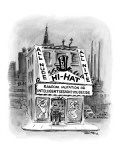 Strip club with sign that reads, 'Random Mutation or Intelligent Design? Y… - New Yorker Cartoon Premium Giclee Print by Lee Lorenz