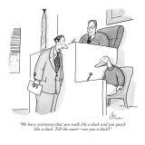 """We have testimony that you walk like a duck and you quack like a duck. Te…"" - New Yorker Cartoon Premium Giclee Print by Leo Cullum"