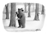 A bear taking syrup from a tree for his pancakes. - New Yorker Cartoon Premium Giclee Print by Harry Bliss
