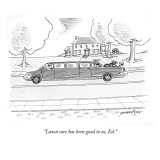 """Lawn care has been good to us, Ed."" - New Yorker Cartoon Premium Giclee Print by Mick Stevens"