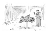 A farmer straps down a turkey for lethal injection. - New Yorker Cartoon Premium Giclee Print by Kim Warp