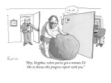 """Hey, Sisyphus, when you've got a minute I'd like to discuss this progress…"" - New Yorker Cartoon Premium Giclee Print by Zachary Kanin"