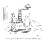 """That's my studio.  You know, where I work on the hot dogs."" - New Yorker Cartoon Premium Giclee Print by Zachary Kanin"