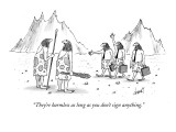 """They're harmless as long as you don't sign anything."" - New Yorker Cartoon Premium Giclee Print by Tom Cheney"