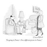 """I'm going to France—I'm a different person in France."" - New Yorker Cartoon Premium Giclee Print by Victoria Roberts"