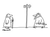 Man watches as another disheveled man returns from direction towards which… - New Yorker Cartoon Premium Giclee Print by Charles Barsotti