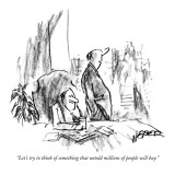 """Let's try to think of something that untold millions of people will buy."" - New Yorker Cartoon Premium Giclee Print by Robert Weber"