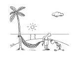 A man on a desert island waters  a tree hoping to use it for his hammock. - New Yorker Cartoon Premium Giclee Print by Matthew Martin