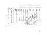 Man picks out a haircut he wants by pointing to one in a long line of head… - New Yorker Cartoon Premium Giclee Print by Paul Noth